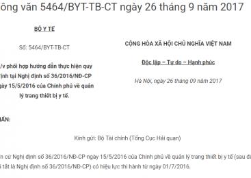 Công văn 5464/BYT-TB-CT ngày 26 tháng 9 năm 2017