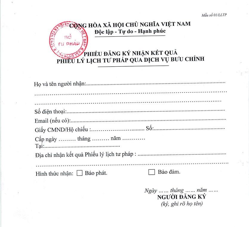 Phiếu đăng ký nhận kết quả Phiếu lý lịch tư pháp qua dịch vụ bưu chính tại Hưng Yên