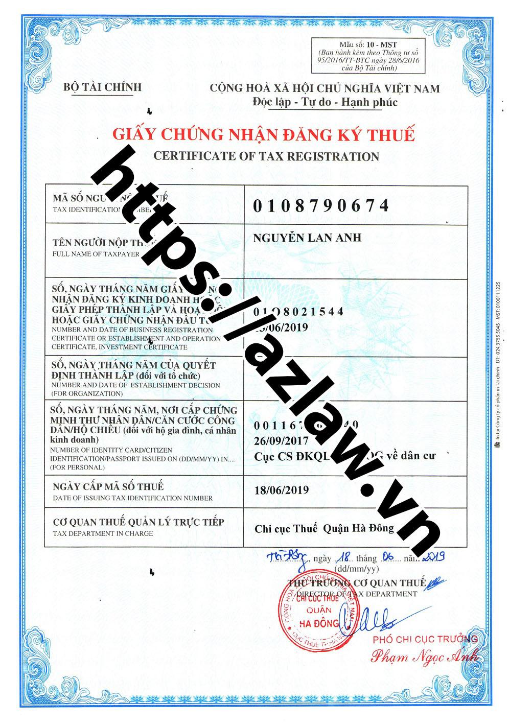 Đăng ký mã số thuế hộ kinh doanh Hà Đông