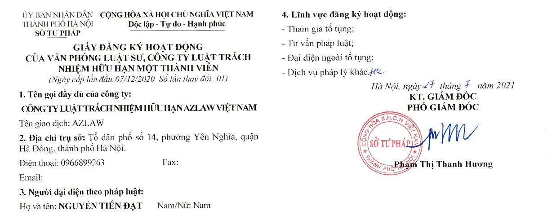 Đăng ký hoạt động CÔNG TY LUẬT TNHH AZLAW VIỆT NAM