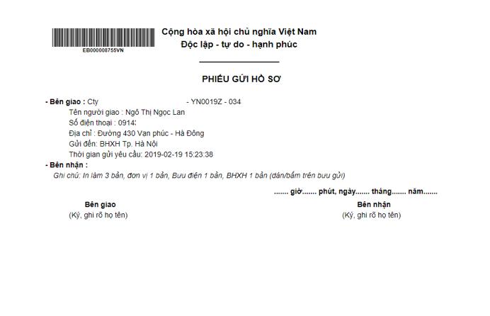 Đăng ký chuyển phát hồ sơ BHXH